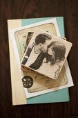 Vintage, stone coasters, card and book