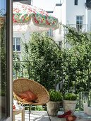 Wicker chair and floral parasol on summery balcony