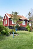 Falu-red Swedish house with white windows below blue sky