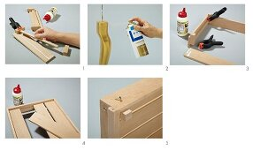 Instructions for making a tray table with golden legs from wooden laths