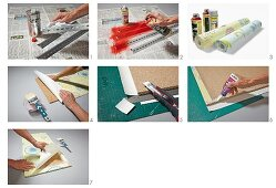 Making kitchen shelves from metal rails and wallpapered chipboard