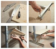 Instructions for making a shelving system from metal rails and wooden shelves