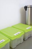 Labelled recycling bins