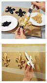 Instructions for making gold wall mouldings from polystyrene