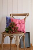 Cushion covers hand-made from red and blue checked linen