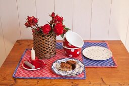 Table mats hand-made from red and blue checked linen