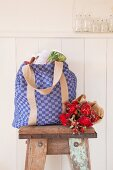 Shopping bag hand-made from red and blue checked linen