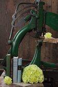 Nelkenboquet und Bücher vor alter Druckerpresse
