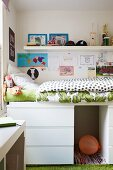 Loft bed on top of chest of drawers in child's bedroom
