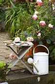 Vintage garden shears on wooden stool next to roses and white watering can