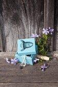 Pastellblaues DIY-Holzkästchen mit Fischmotiv