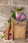 Candle lantern wrapped in rhubarb leaf on wooden block