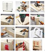 Instructions for decorating a chest of drawers to look like a packing crate