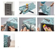 Instructions for covering the housing of a chest of drawers with patterned paper
