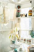 Porcelain containers arranges on white wooden shelves in window