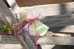 Linen sachet of mixed herbs