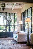 Mediterranean conservatory with lattice windows