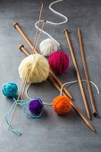 Balls of wool and knitting needles