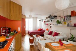 One-room retro apartment with fitted kitchen