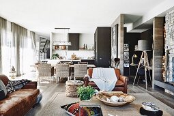 Open living space in natural tones