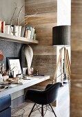 Workplace in natural tones, wall clad with wood