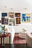Gallery of pictures in ethnic-style living room