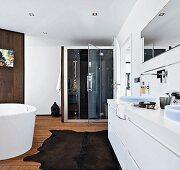 An elegant bathroom with a steam sauna