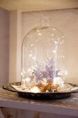 Paper stars and fairy lights under glass cover on vintage plate