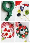 Christmas door wreath made from green ribbon, woollen pompoms, love-hearts and red ribbons
