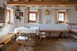 Parlour in traditionally furnished farmhouse