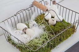 Lettered eggs in Easter nest of moss in metal basket