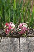 Zwei Blütenbälle mit Bartnelken, Rosen, Astern und Hortensien