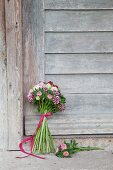 Bouquet of sweet Williams, roses, asters and hydrangeas