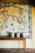 Large tiled mural of world map
