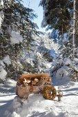 Schatzkiste mit Floristik aus Trockenblumen im Winterwald