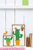 Hand-made paper collages of cacti