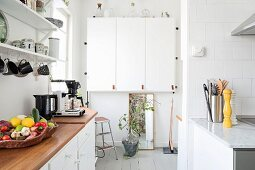 Wall units in white kitchen