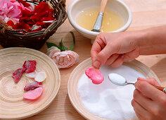 Sugared rose petals