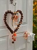 Chestnut heart on wire hanger