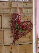 Heart made of red dogwood branches