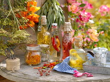 Homemade vinegars with spices and herbs