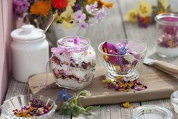 Blossoms salt made of mixed coarse salt and edible flowers