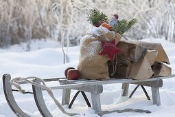 Santa Claus sleigh with firewood and pickaxe, blooming