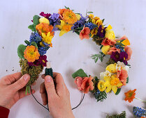 Heart made from spring flowers