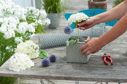 Hydrangea flowers and ball thistle arrangement