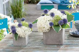 Hydrangea flowers and ball thistle arrangement