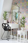 House plants on Moroccan side table and dressing table