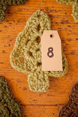 Crocheted fir tree with number for Advent calender