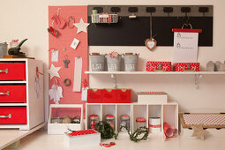 Attractive organiser system for craft supplies in red and white