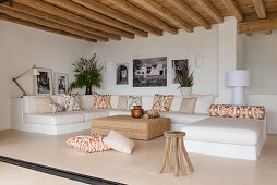 Large sofa in Mediterranean living room in pale shades